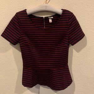 Navy and maroon/ burgundy striped peplum top